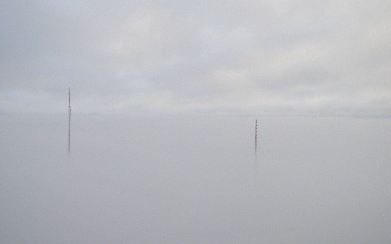 Towers in the fog. The tower on the left is 1178' and the tower on the right is 1000'