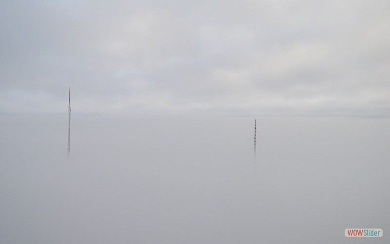 Towers in the fog - left tower is 1,178' - right tower is 1,000'